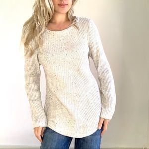 Oatmeal Speckled Ribbed Knit Sweater Top Large